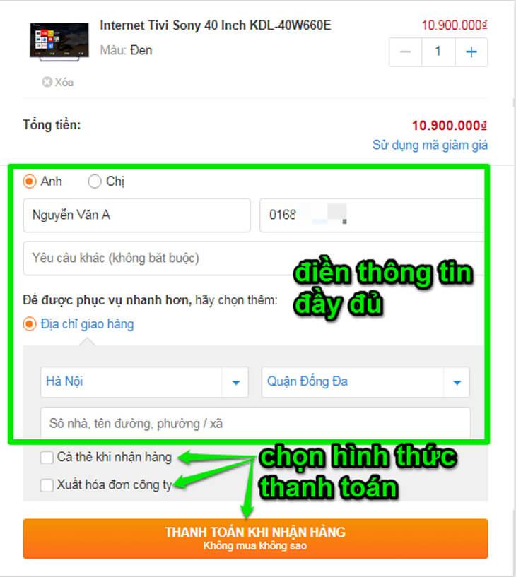 Hướng dẫn mua hàng website Trananh.vn