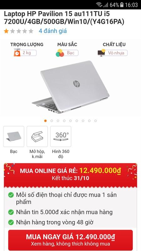 Laptop HP dùng chip Core i5 Kabylake đang giảm giá 1.5 triệu đồng - ảnh 2