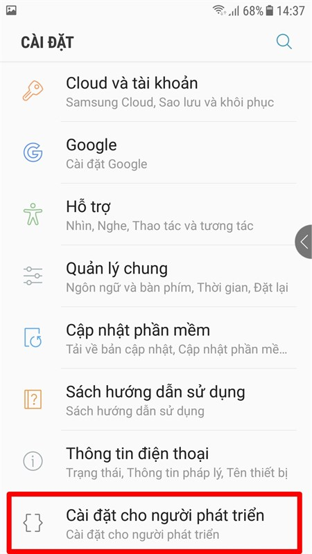 Mục Developer Options