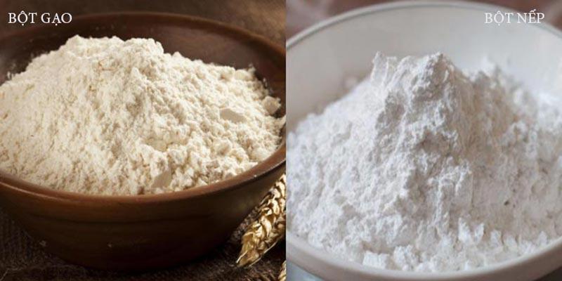 Bột gạo được làm từ gạo tẻ, còn bột nếp được làm từ gạo nếp