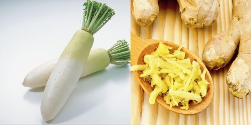 Gừng + Củ cải trắng