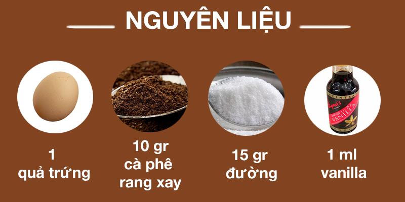 Nguyên liệu làm cà phê trứng