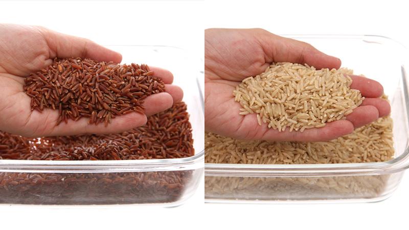 gạo lứt và gạo huyết rồng