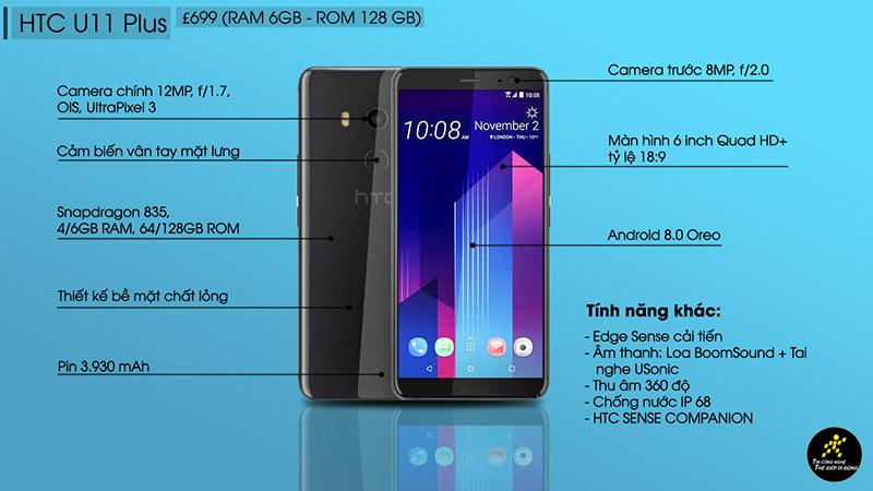 HTC U11 Plus ra mắt: Màn hình 6 inch 18:9, pin lớn hơn, IP68