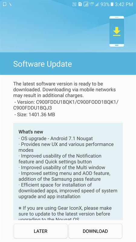 Galaxy C9 Pro bắt đầu được cập nhật Android 7.1.1 Nougat