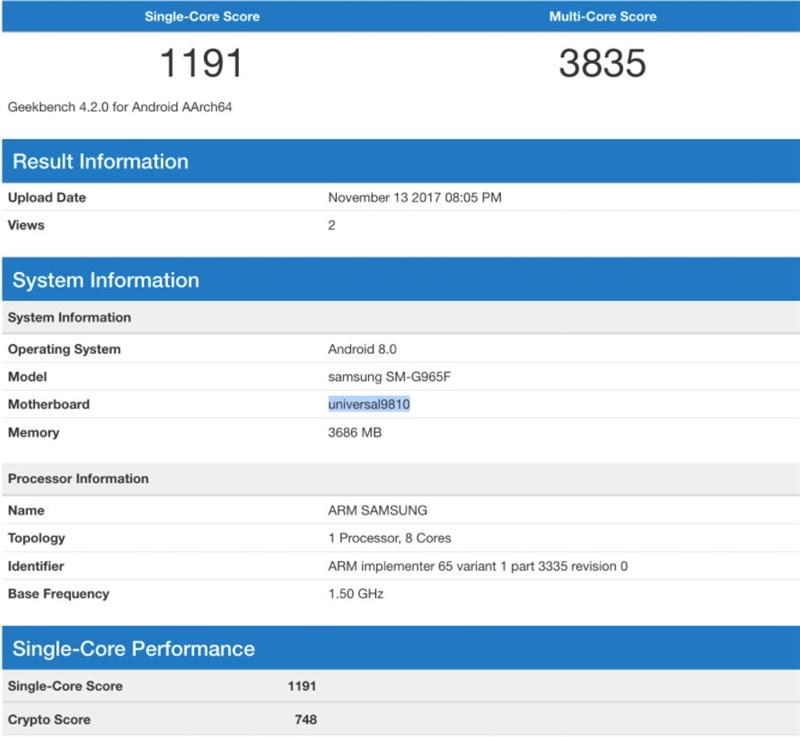 Galaxy S9 Plus xuất hiện trên Geekbench với chip Exynos 9810, RAM 4GB