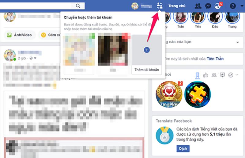 đăng nhập nhiều tài khoản Facebook