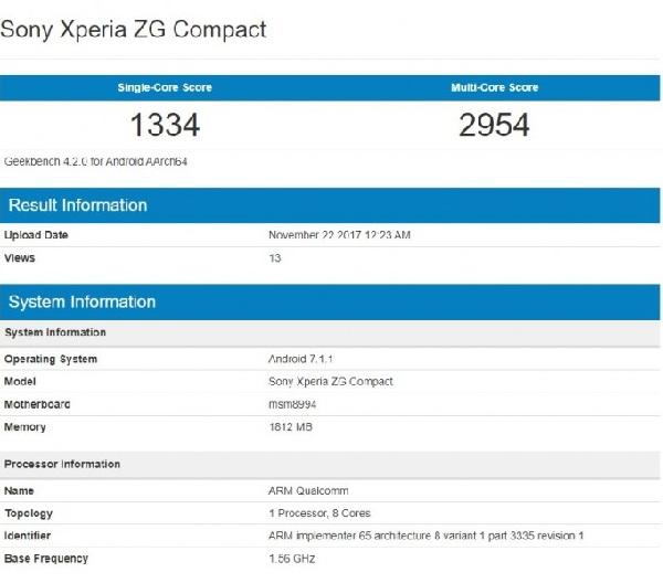 Xperia ZG Compact tiếp tục xuất hiện với chip Snapdragon 810, RAM 2GB