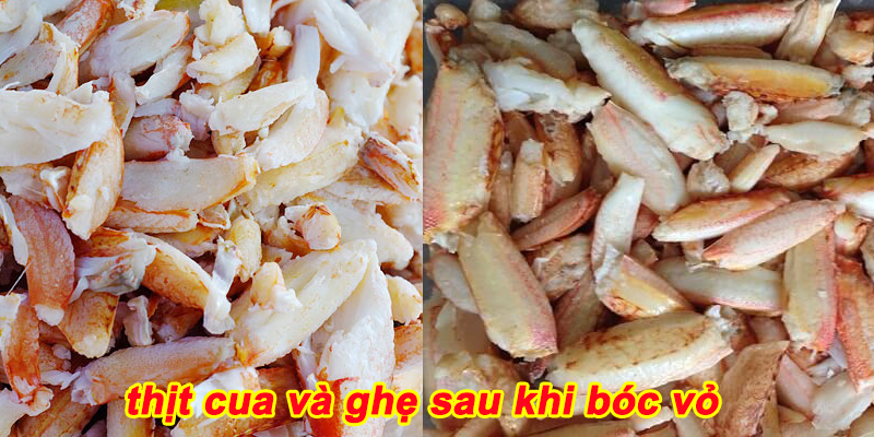 thịt cua và ghẹ sau khi bóc vỏ