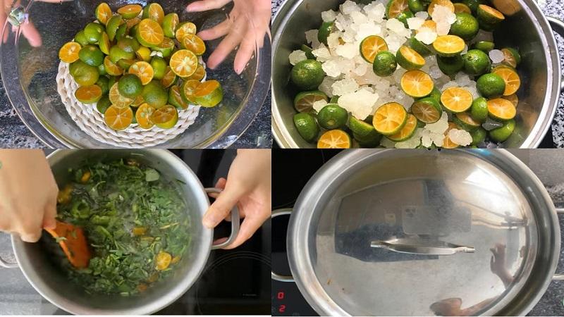 Nấu siro húng quất đường phèn
