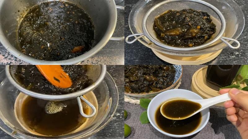 Dùng rây lọc lấy nước siro húng chanh