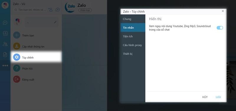 Xem Youtube với cửa sổ thu nhỏ khi dùng Zalo trên máy tính