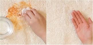 Làm sạch đồ ăn bám trên thảm trải sàn