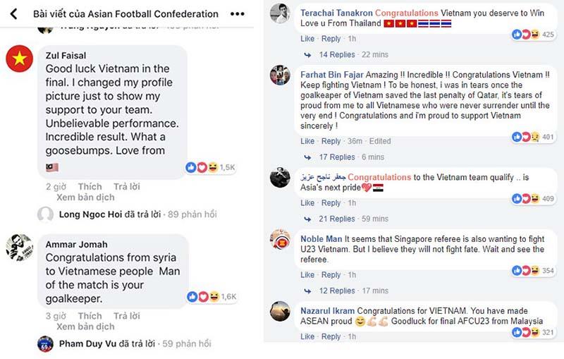Khán giả quốc tế khen ngợi U23 Việt Nam