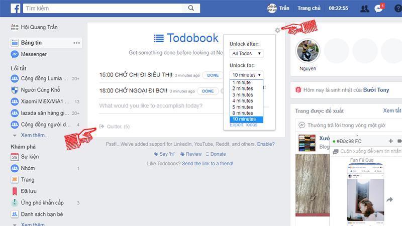 Todobook: Công cụ trị