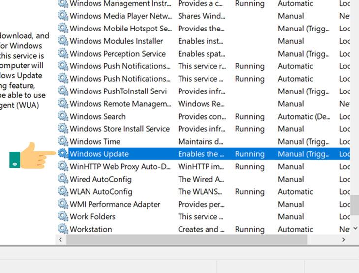 Tìm đến mục Windows Update