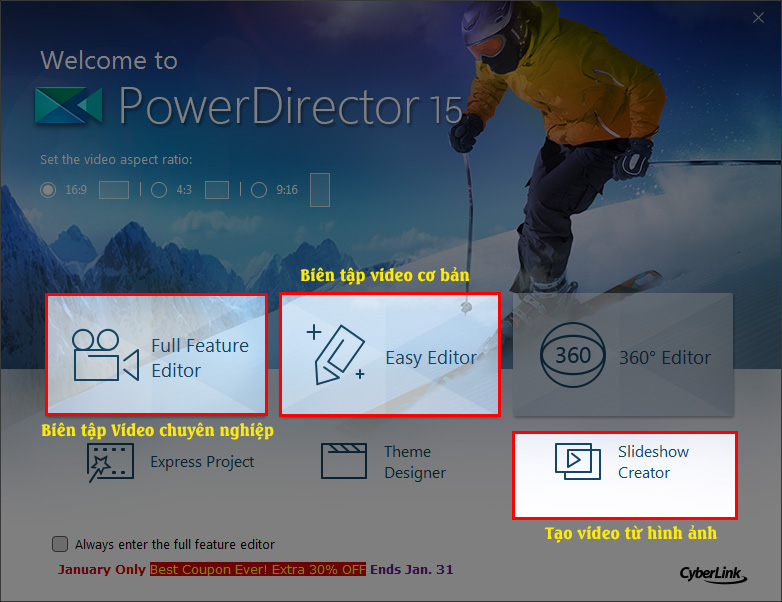 CyberLink PowerDirector 15: Trình biên tập video Đang free bản quyền