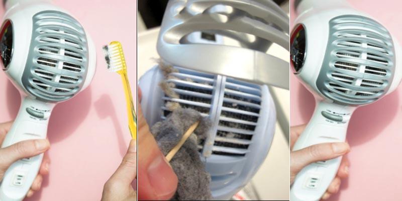 Nếu thấy tóc vẫn còn bám ở trong máy sấy, bạn có thể dùng nhíp hoặc tăm để kéo ra cho đến khi máy sấy được sạch hoàn toàn
