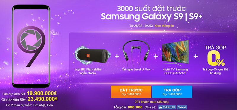 Đặt gạch Galaxy S9, S9 Plus tại TGDĐ: Nhận ngay loa JBL & tai nghe Level U