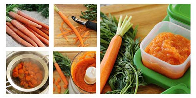 cà rốt chứa nhiều Vitamin A, chất này rất tốt cho mắt, trí não của bé