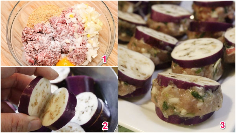 Trộn thịt với gia vị, sau đó nhồi thịt vào giữa mỗi miếng cà
