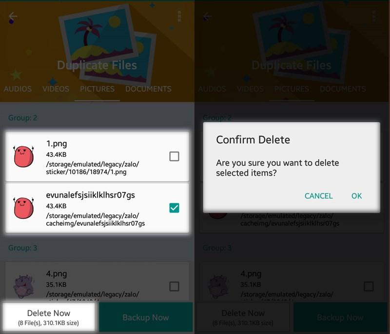 Mẹo xóa tập tin trùng lặp tăng bộ nhớ cho máy Android