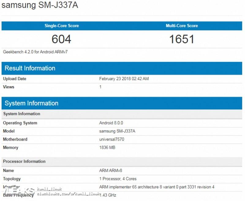 Galaxy J3 (2018) và Galaxy J3 Pro xuất hiện trên Geekbench