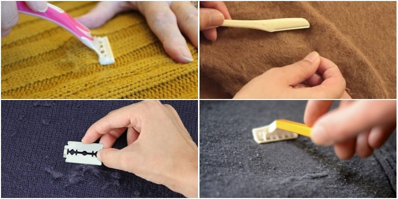 Dùng dao cạo loại bỏ lớp lông xù trên vải len