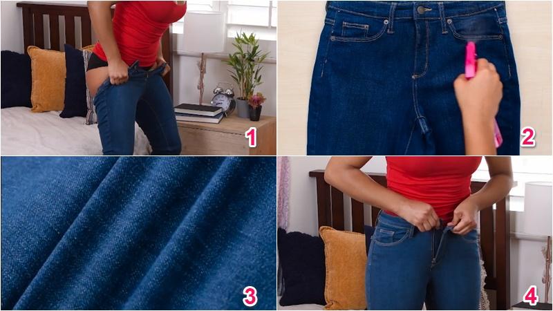 Quần jean quá chật bạn cần làm mềm vải quần với nước ấm