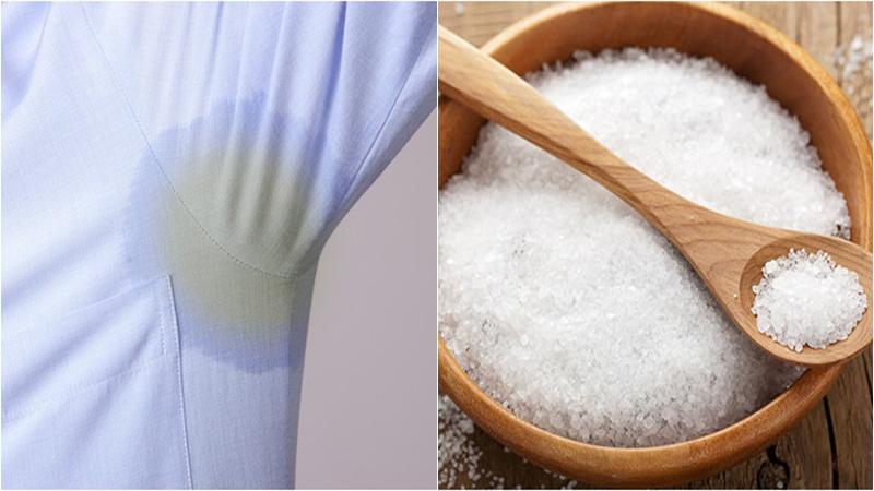 Đổ 1 ít muối ăn và nước lên nách áo dính vết bẩn