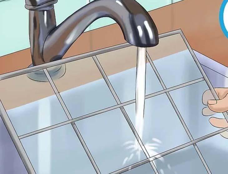 Rửa nhẹ màng lọc dưới vòi nước
