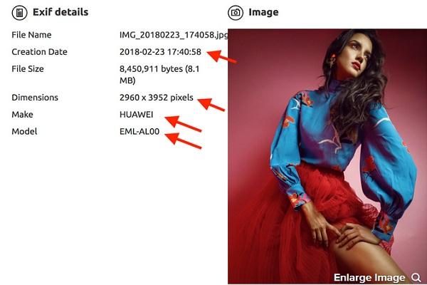 Exif details hình ảnh từ Huawei P20