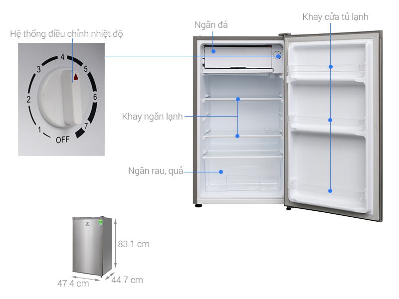 Kích thước tủ lạnh Electrolux 92 lít EUMO900SA
