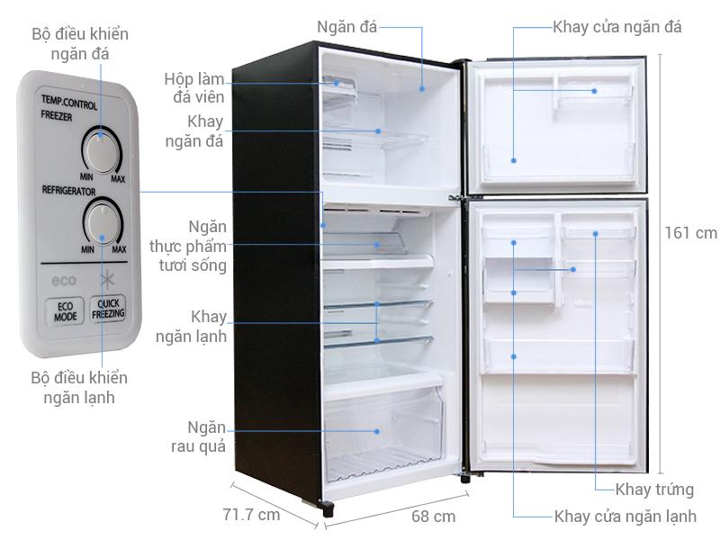 Kích thước tủ lạnh Toshiba 359 lít GR-TG41VPDZ (XK1)