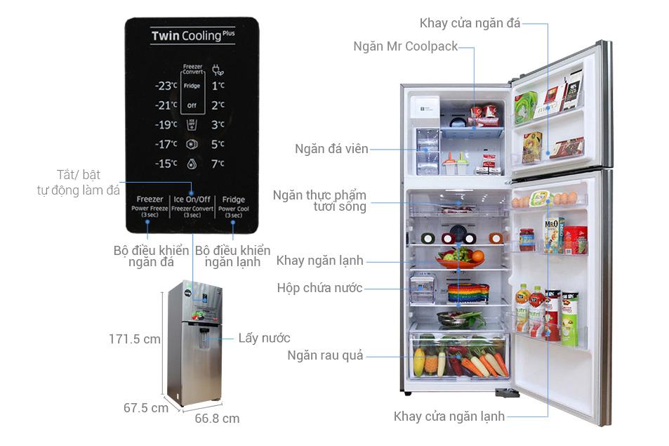 Kích thước tủ lạnh Samsung 380 lít RT38K5982SL/SV
