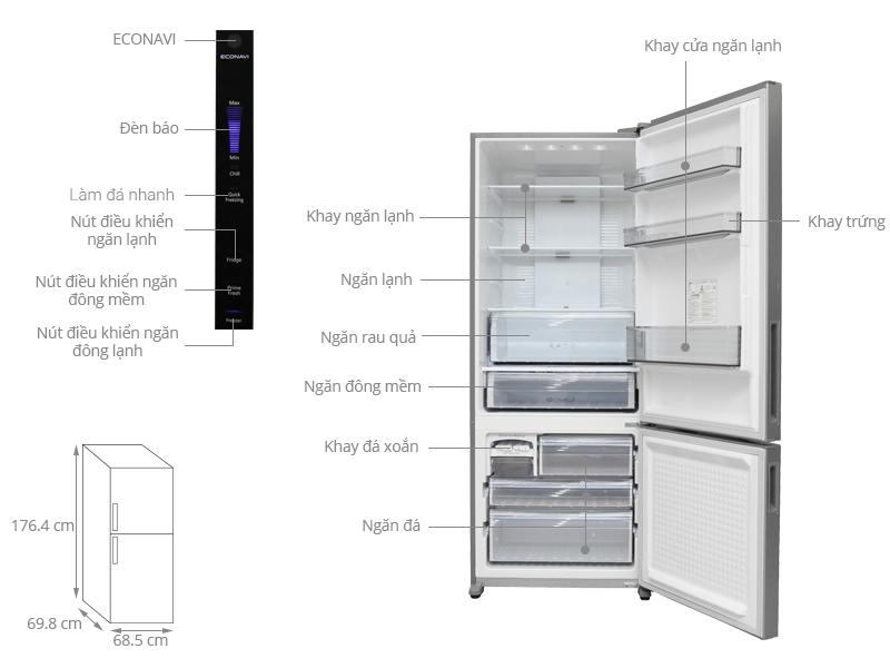 Kích thước tủ lạnh lạnh Panasonic 405 lít NR-BX468XSVN