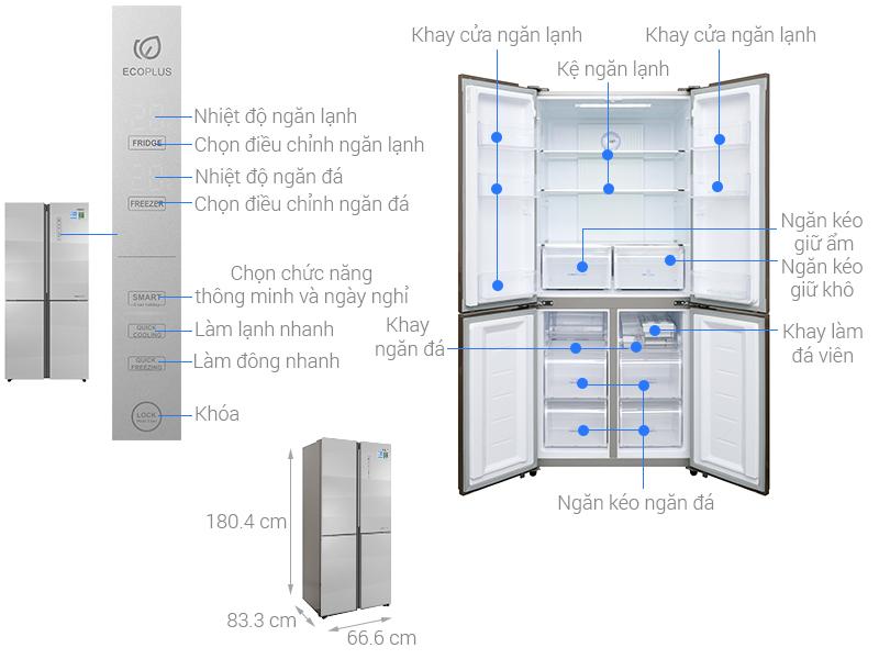 Kích thước tủ lạnh Aqua Inverter 516 lít AQR-IG525AM GS
