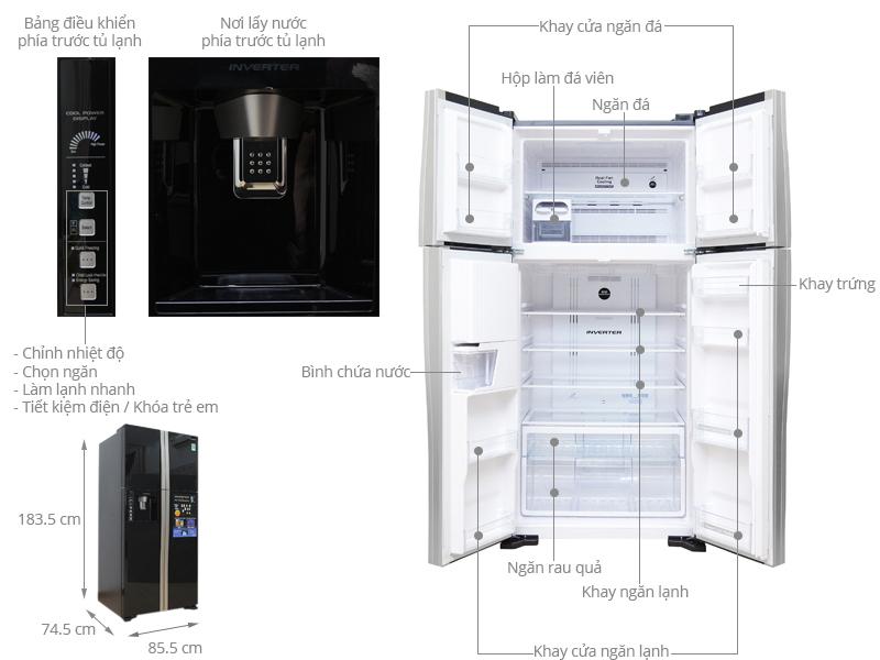 Kích thước tủ lạnh Hitachi 540 lít R-W660PGV3