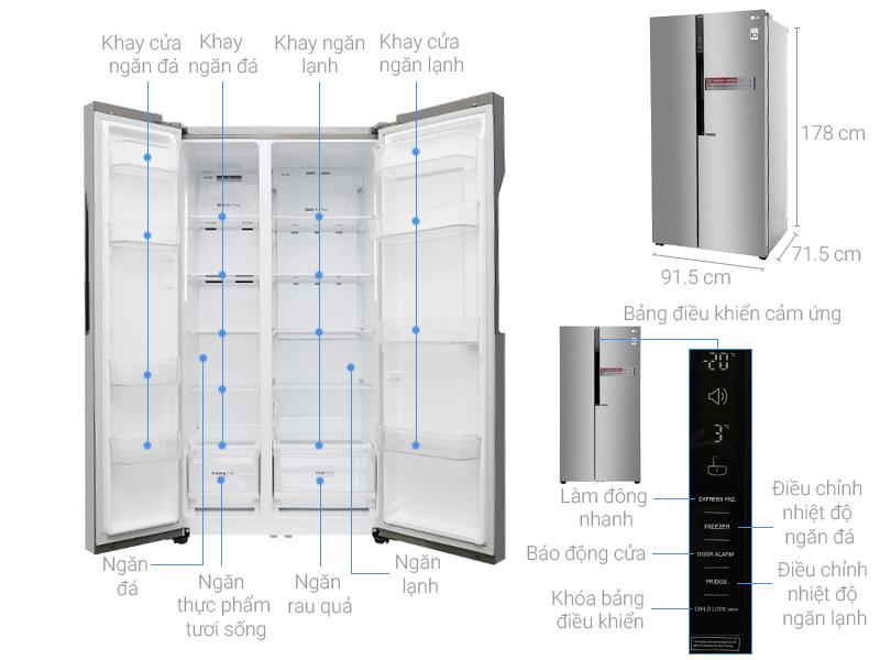Kích thước tủ lạnh LG Inverter 613 lít GR-B247JDS