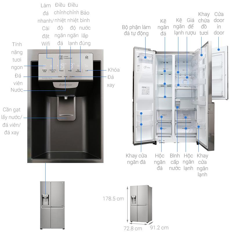 Kích thước tủ lạnh LG 601 lít GR-P247JS