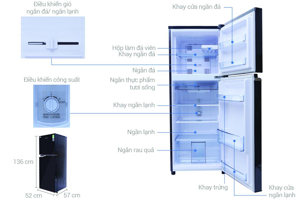 Kích thước tủ lạnh Panasonic 188 lít NR-BA228PKV1