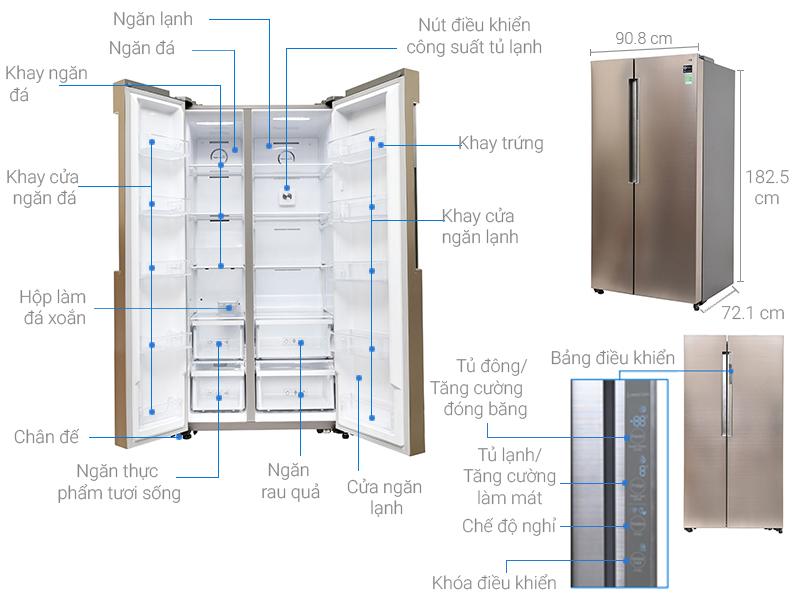 Kích thước tủ lạnh Samsung Inverter 641 lít RS62K62277P/SV