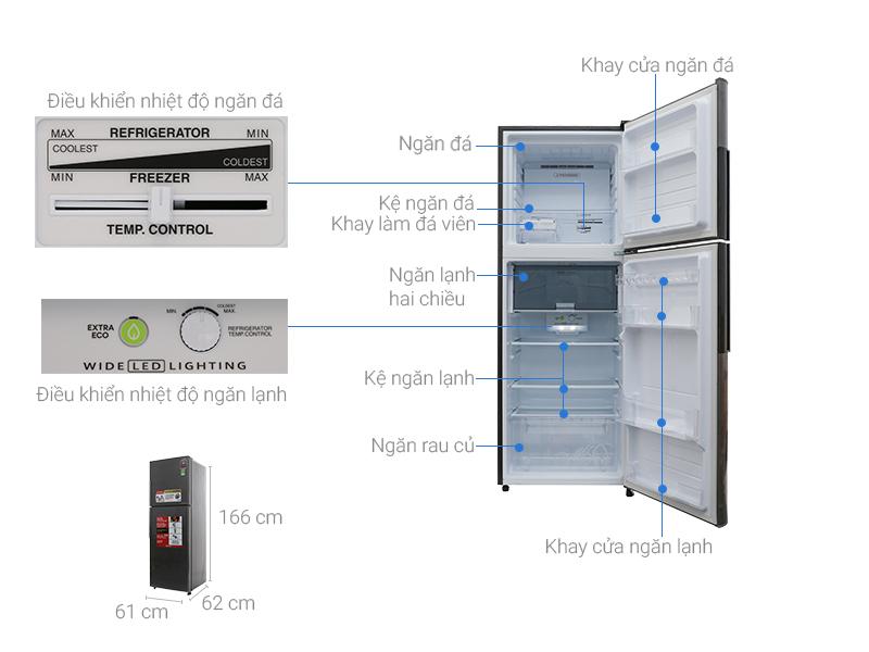Kích thước tủ lạnh Sharp Inverter 314 lít SJ-X316E-DS