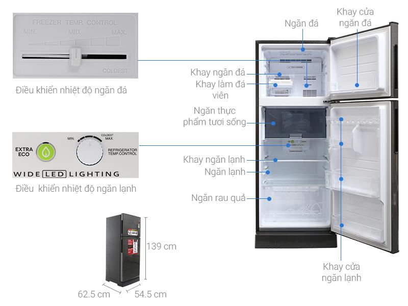 Kích thước tủ lạnh Sharp 196 lít SJ-X201E-DS