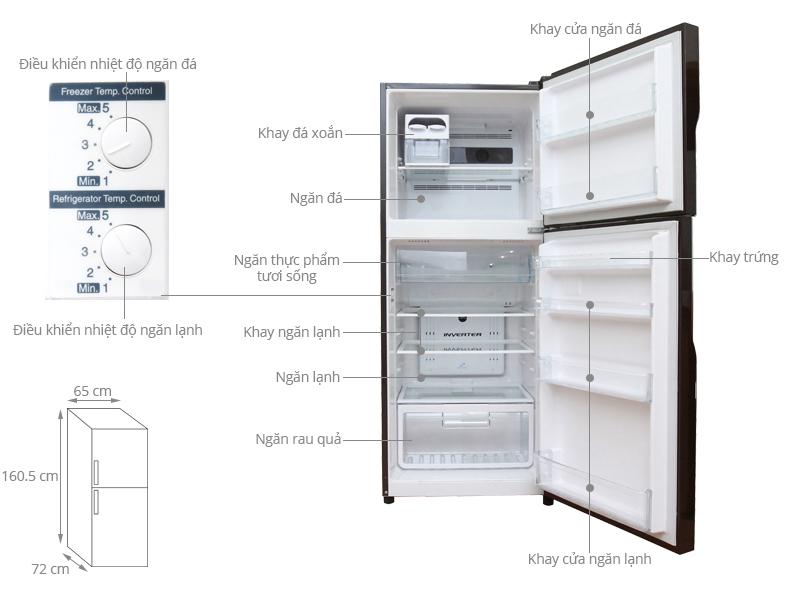 Kích thước tủ lạnh Hitachi 335 lít R-VG400PGV3 GBW