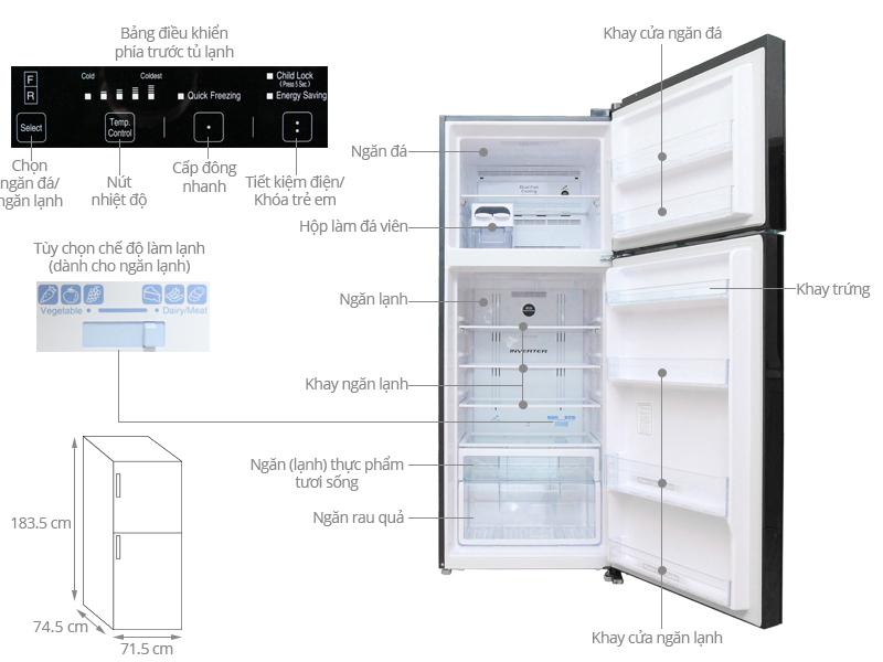 Kích thước tủ lạnh Hitachi 450 lít R-VG540PGV3
