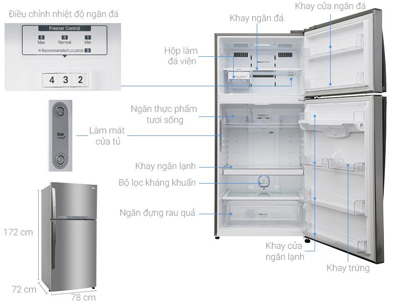 Kích thước tủ lạnh LG Inverter 475 lít GN-L602S