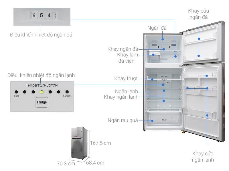 Kích thước tủ lạnh LG inverter 393 lít GN-L422PS