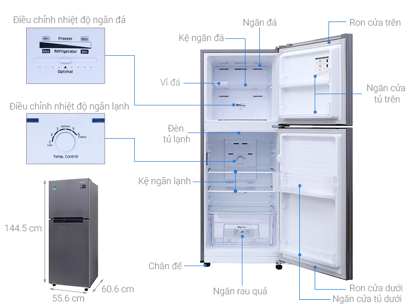 Kích thước tủ lạnh Samsung 208 lít RT19M300BGS/SV