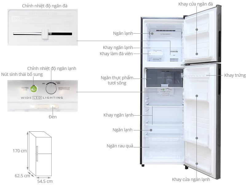 Kích thước tủ lạnh Sharp 271 lít SJ-X281-DS